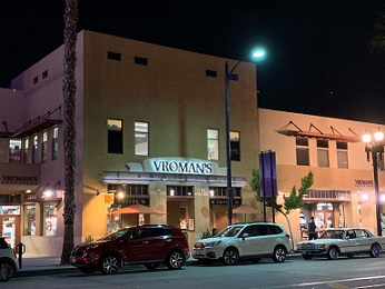 A nighttime view of Vroman's, Nov. 12, 2019. (Photo by Erik Pedersen)